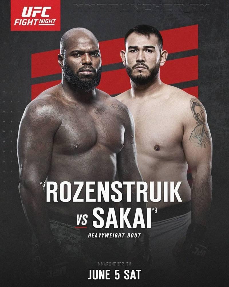 Rozenstruik vs Sakai apuestas predicciones e cuotas UFC